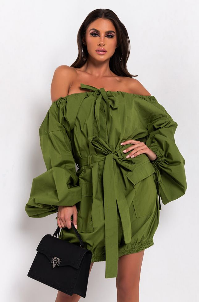 Front View Meet Me Halfway Long Sleeve Cargo Pocket Mini Dress in Olive