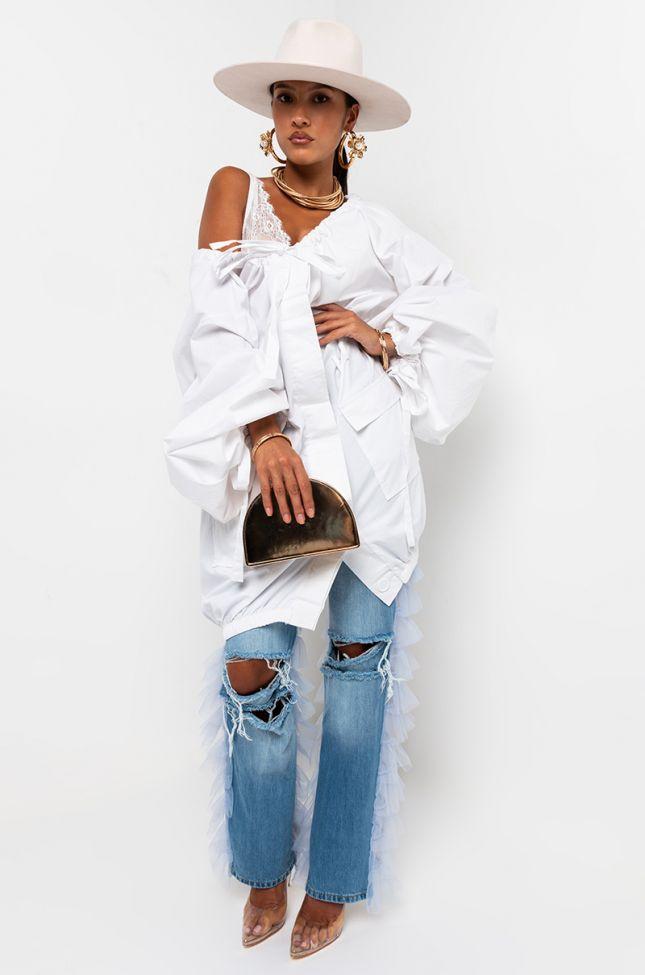 Meet Me Halfway Long Sleeve Cargo Pocket Mini Dress in White