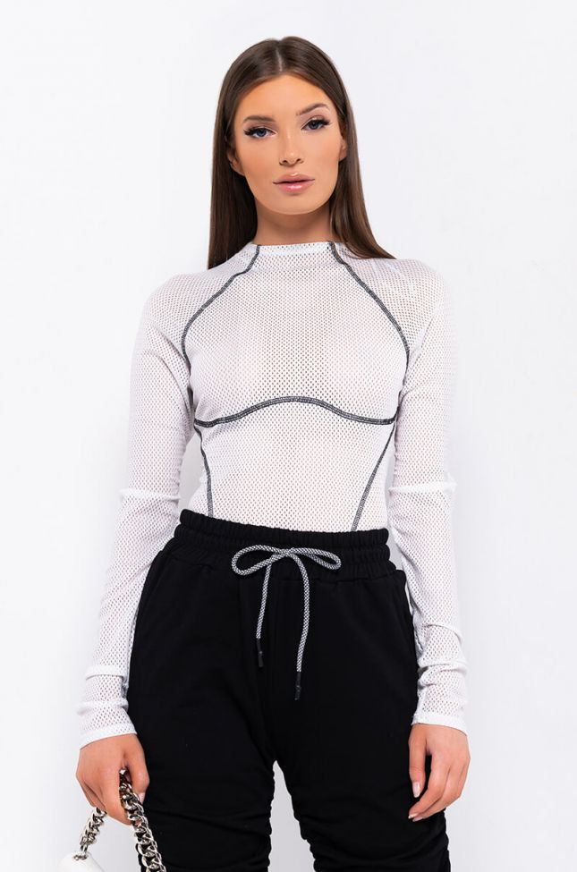 Front View Meet You At The Track Long Sleeve Bodysuit in White
