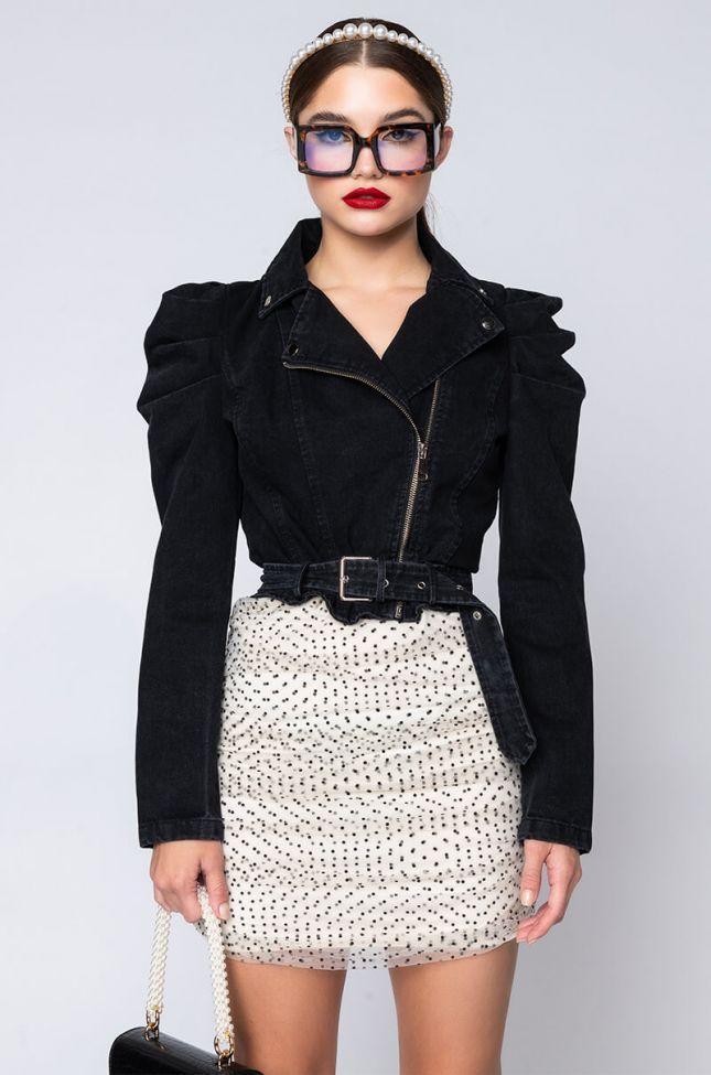 Side View Menneli Denim Poplin Sleeve Jacket in Black Denim