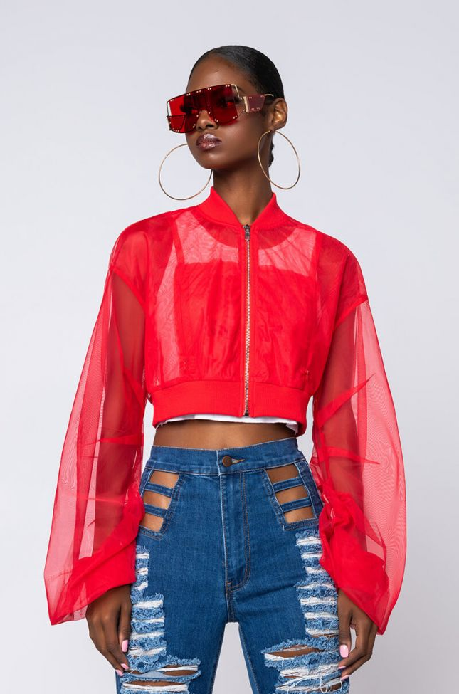 Front View Mesh Stacked Arm Crop Bomber in Red