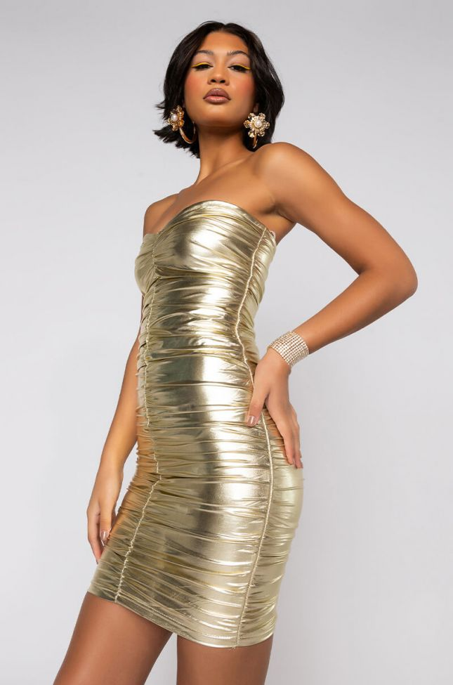 Front View Metallic Ruched Bandage Mini Dress in Gold