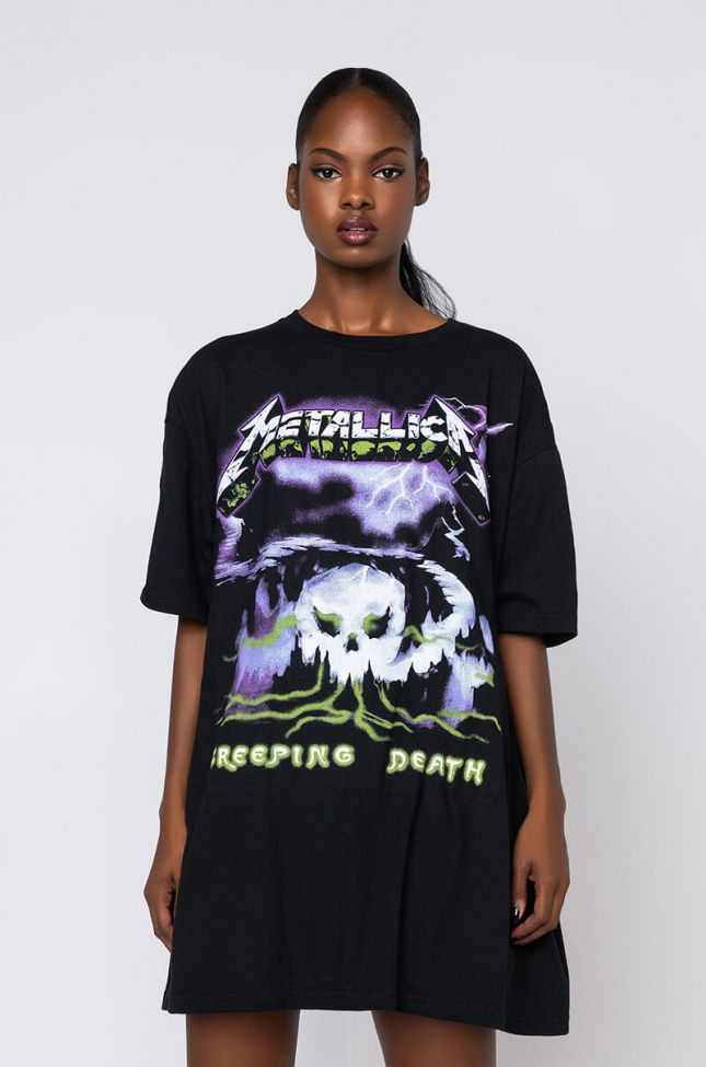 Front View Metallica Creeping Death T Shirt Dress in Black