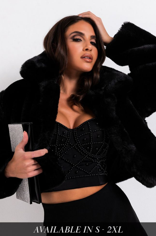 Front View Mi Amor Plush Faux Fur Jacket in Black