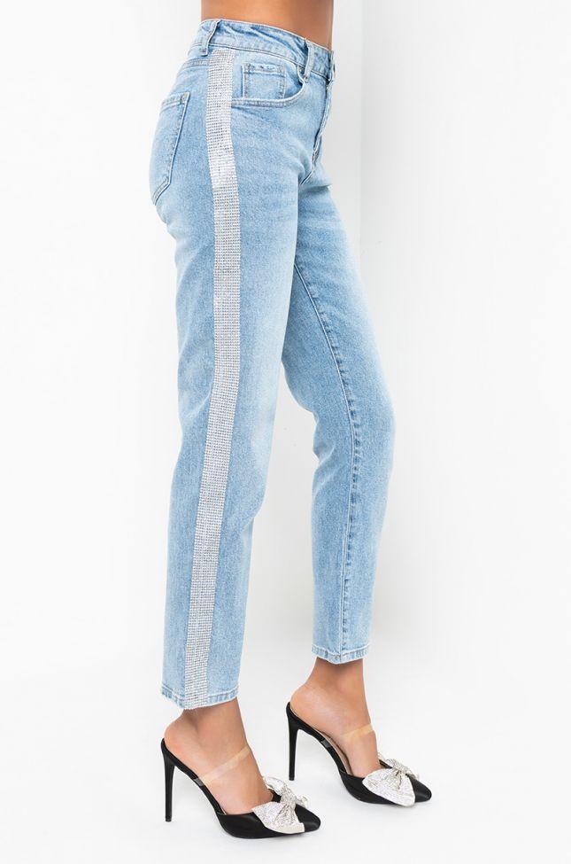 Side View Mia Rhinestone Stripes Straight Jeans in Light Blue Denim