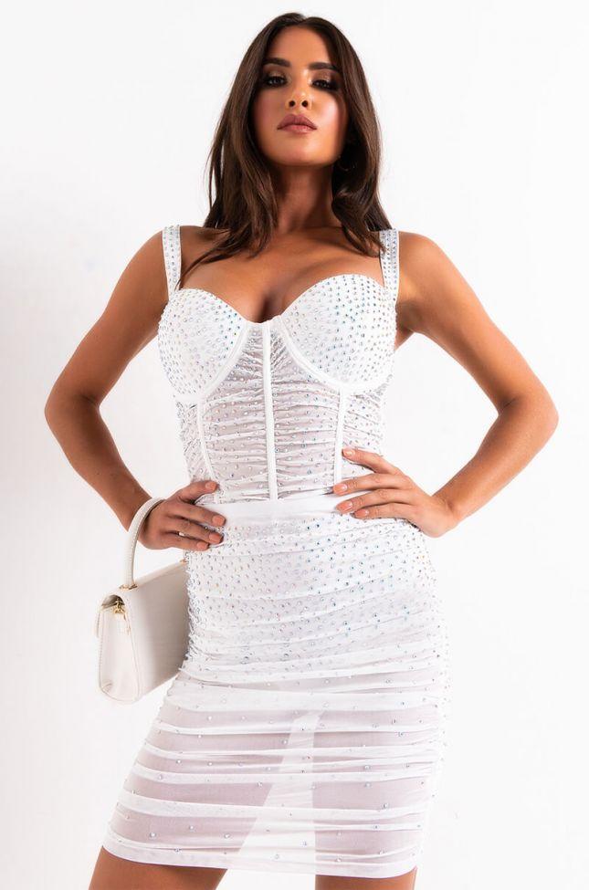 Full View Miami Bound Rhinestone Mini Skirt in White
