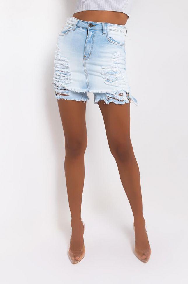Front View Michigan High Waisted Denim Shorts in Light Blue Denim