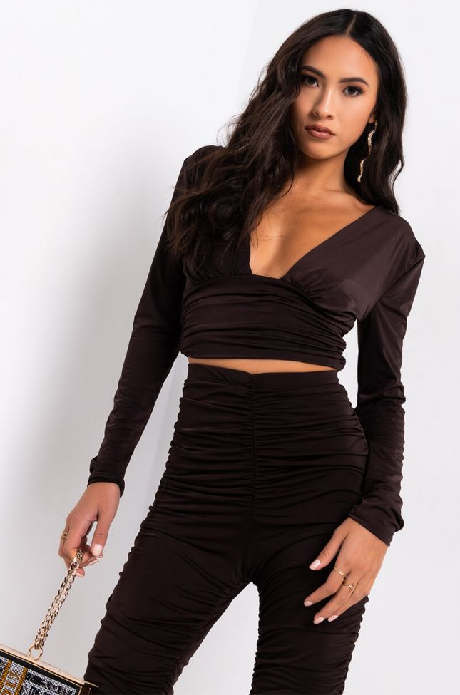 Front View Millennial Vibes Ruched Long Sleeve Top in Brown