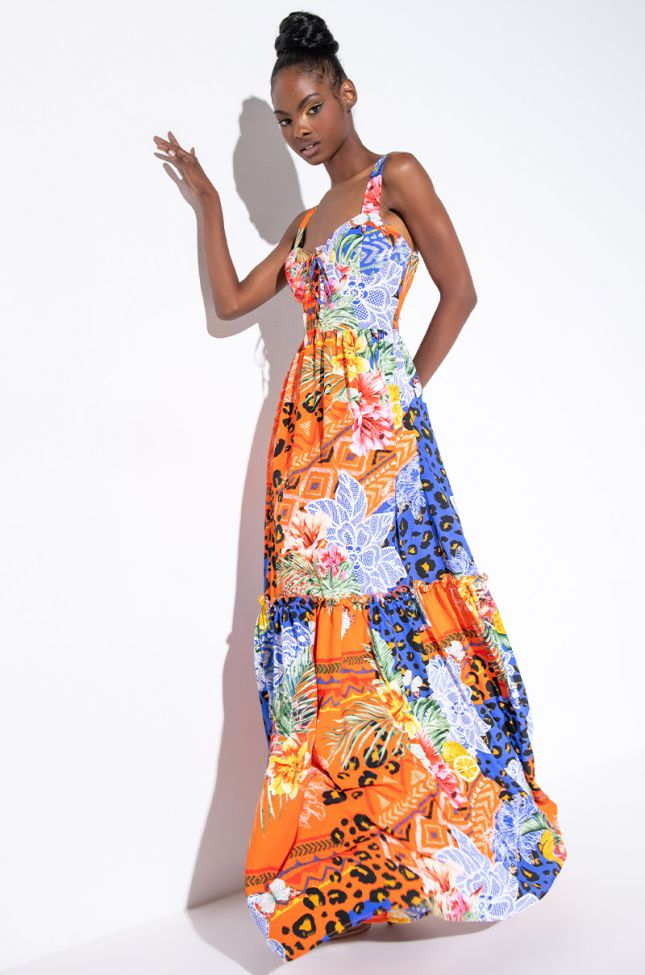 Front View Miss Me Maxi Dress in Orange Multi
