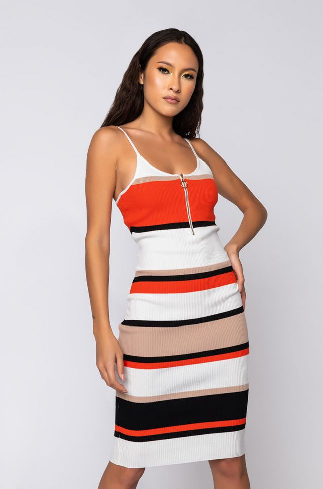 Front View Miss Thing Midi Striped Tank Dress in Orange Multi