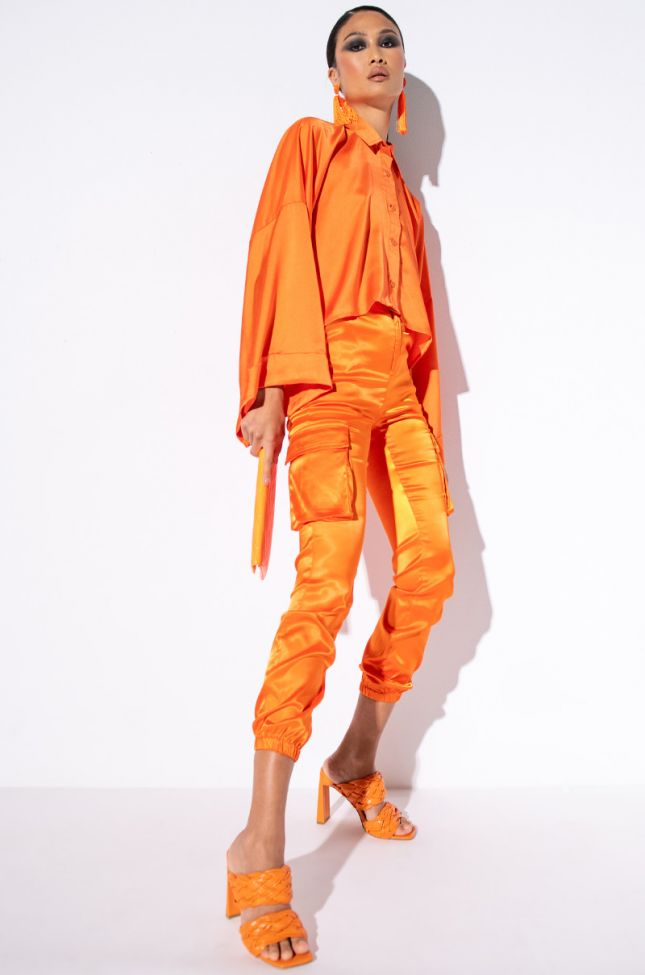 Detail View Mission Impossible Satin Cargo Jogger Pants  in Orange