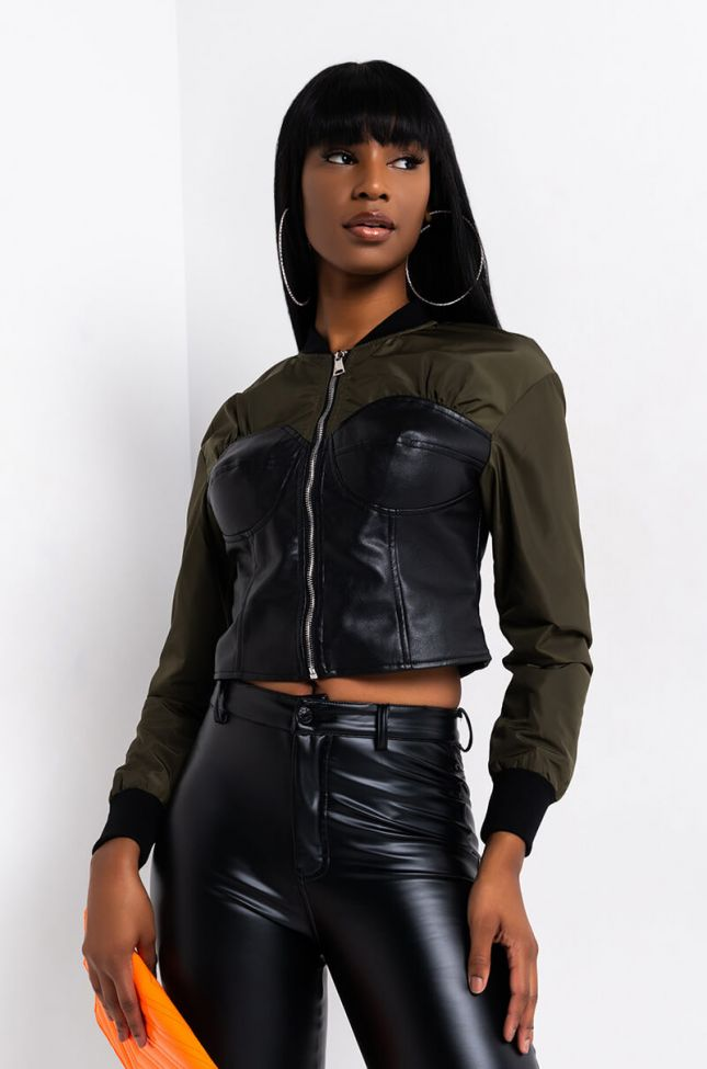 Front View Mistress Corset Bomber in Black Olive