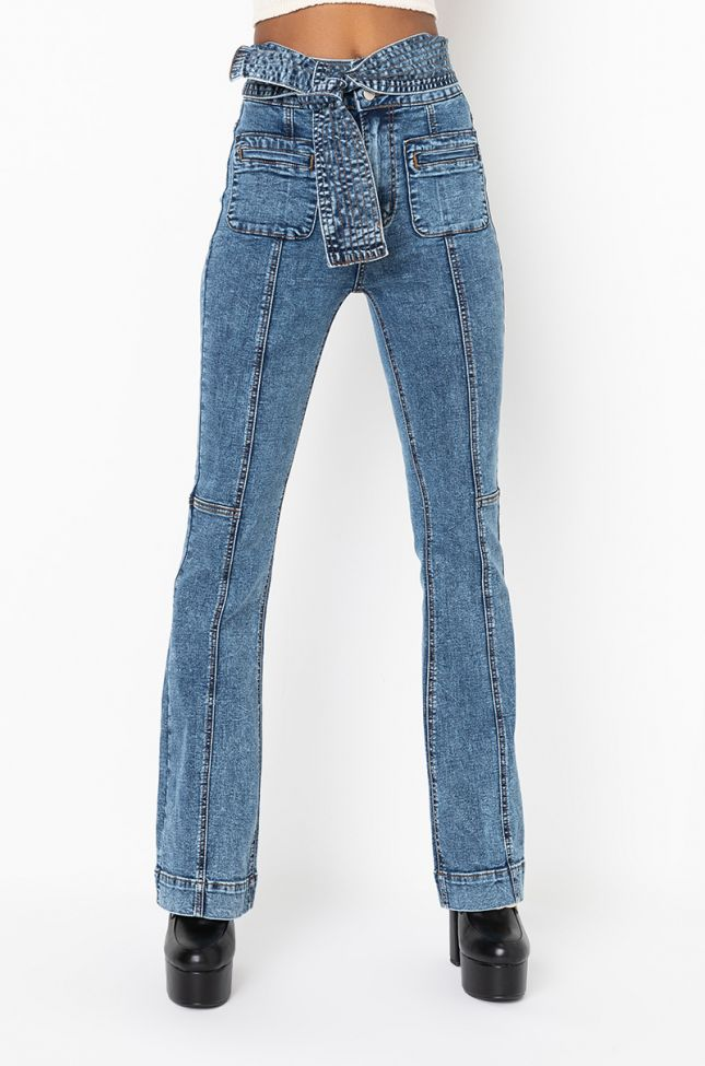 Front View Mix And Match High Waisted Belted Flare Jeans in Medium Blue Denim
