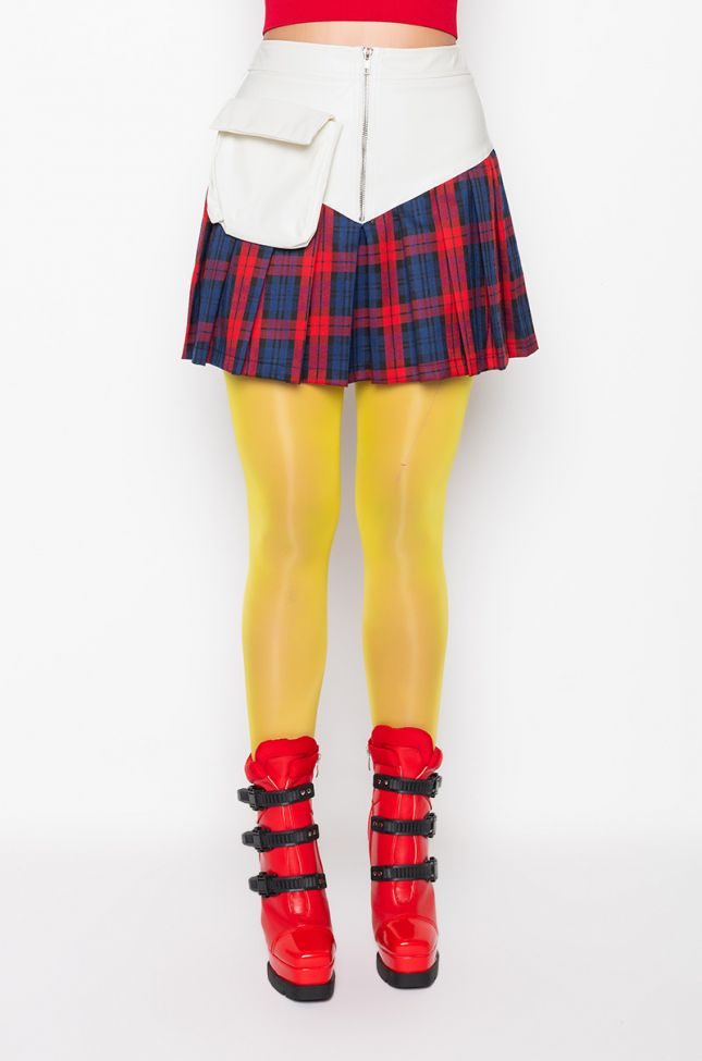 Front View Mix It All Pleated Mini Skirt