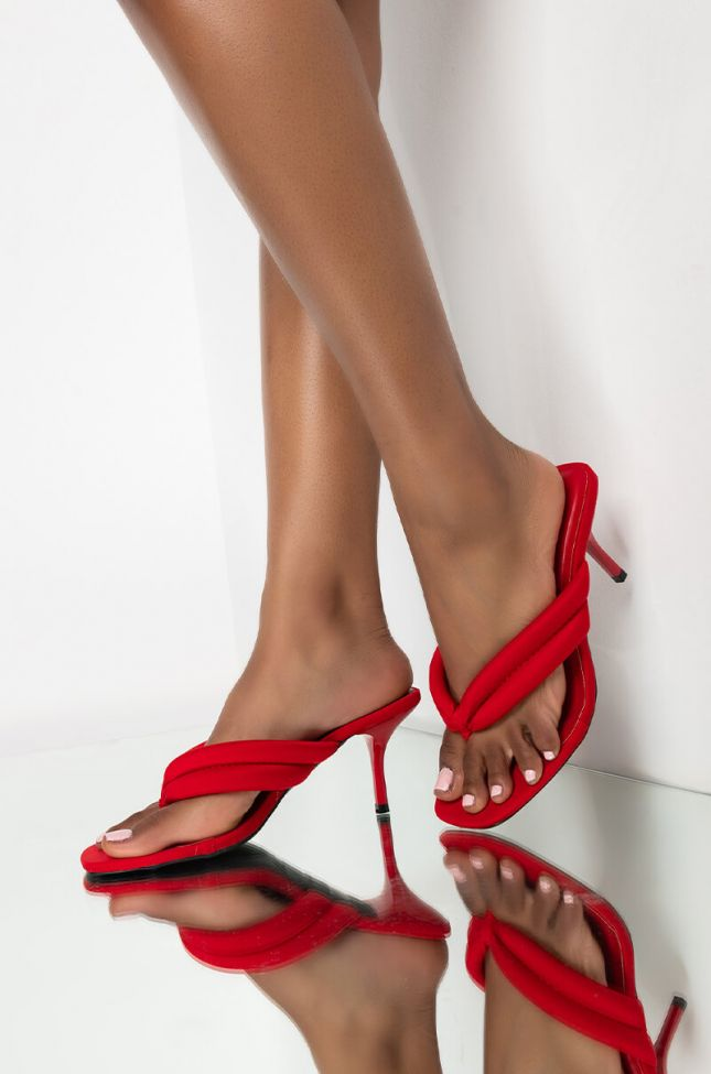 Front View Mix It Up Stiletto Sandal in Red