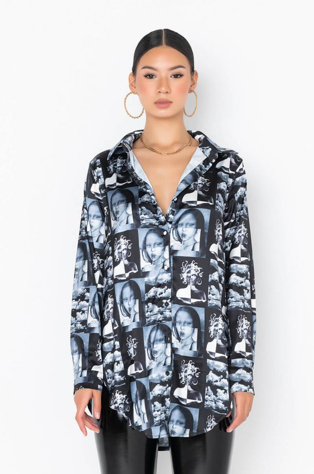 Side View Mix Satin Print Shirt