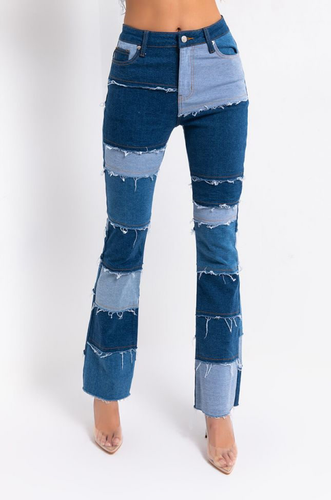 Front View Molly Patchwork Flare Jeans in Denim