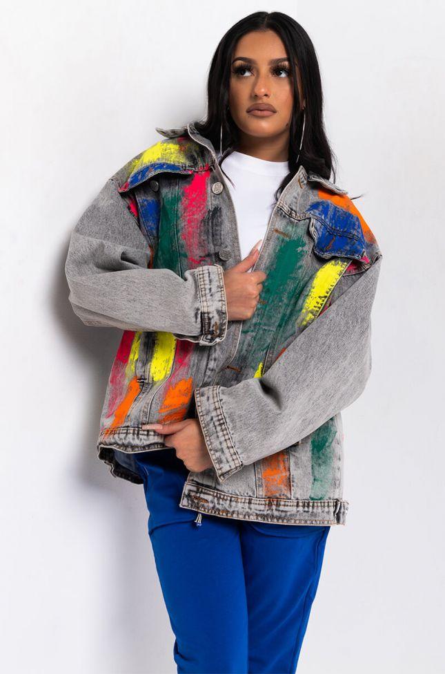 Front View Monet Painted Oversize Denim Jacket in Grey Multi