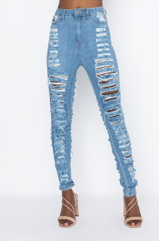 Front View Money Maker Distressed Skinny Jeans in Medium Blue Denim