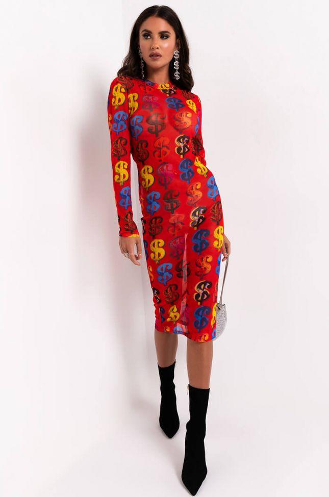 Full View Money Maker Mesh Midi Dress in Red Multi
