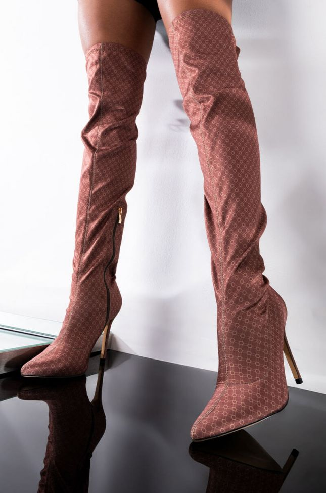 Front View Money On My Mind Over The Knee Boot in Brown