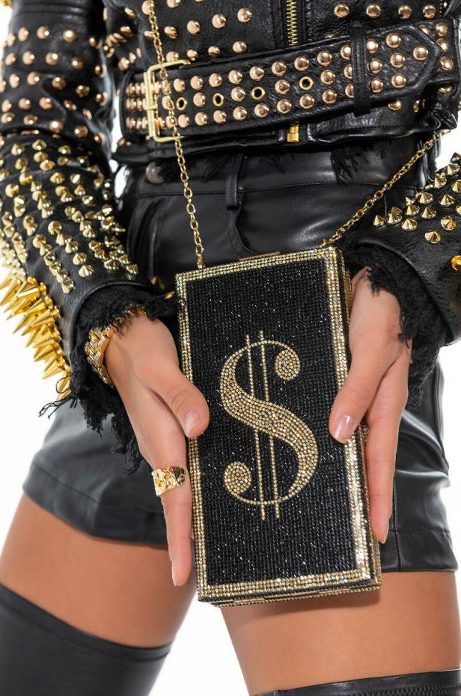 MONEY TALK RHINESTONE CLUTCH