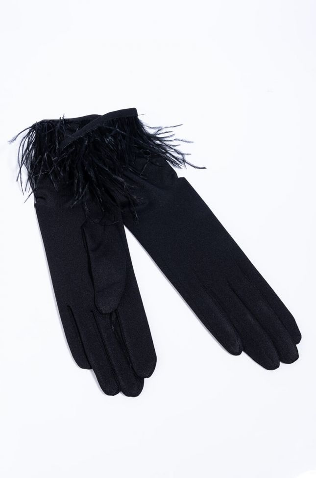 Side View Monte Carlo Glove With Feathers in Black
