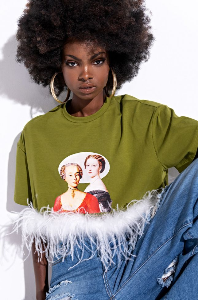 Front View More Than A Cameo Feather T Shirt  in Green Multi