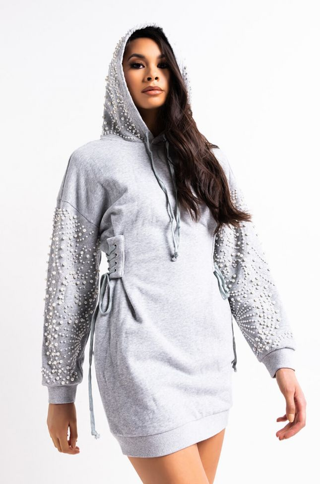 Front View More Than A Moment Pearl Sweatshirt Dress in Heather Grey