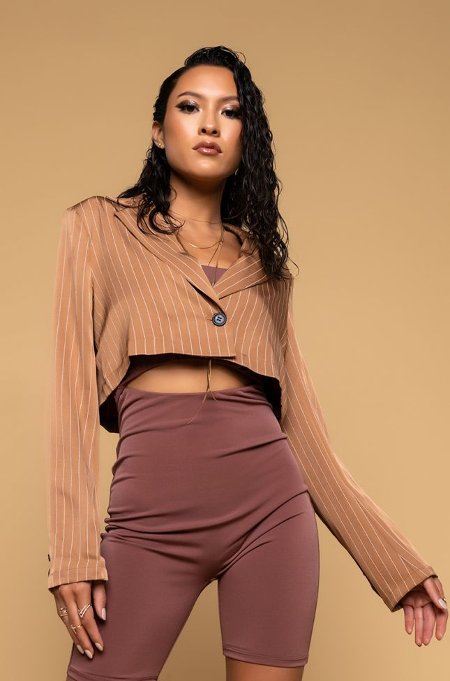 Front View More Than Essential Cutout Romper in Brown