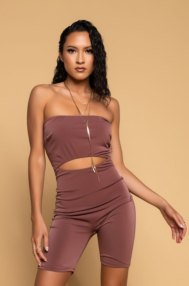 Side View More Than Essential Cutout Romper in Brown