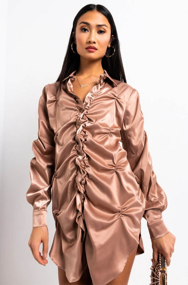Front View More To Love Button Up Shirt Dress in Light Brown