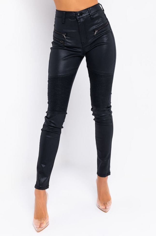 Front View Moto Pu Pants in Black