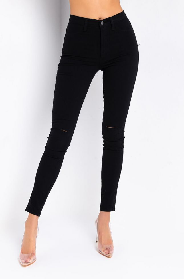 Front View Move Along Slit Knee Skinny Jeans in Black