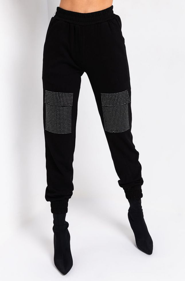 Front View Moves Like Jagger Joggers in Black