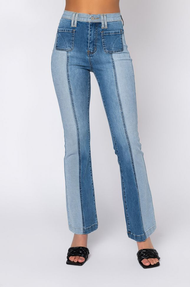 Front View Multi Side Of Me High Rise Flare Jeans in Denim