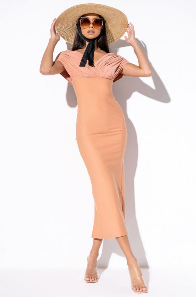 Front View Multi Wrap Tie Midi Dress in Light Brown