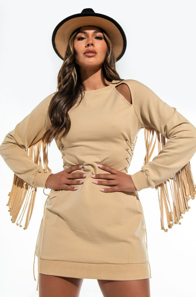 MUST HAVE THIS MINI SWEATSHIRT DRESS WITH FRINGE SLEEVES