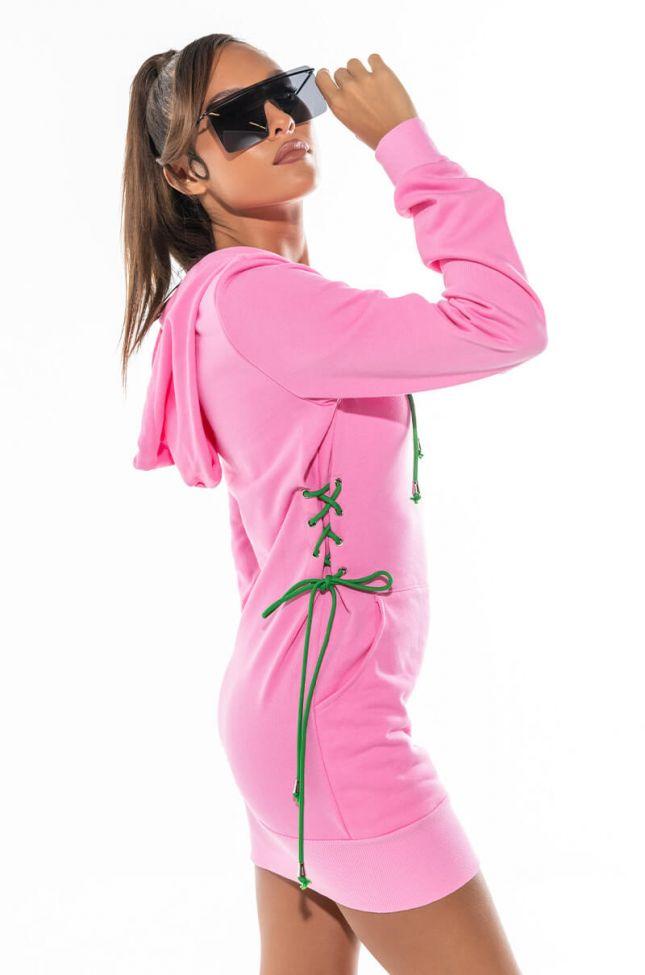 MY ALWAYS SWEATSHIRT DRESS WITH WAIST LACE UPS