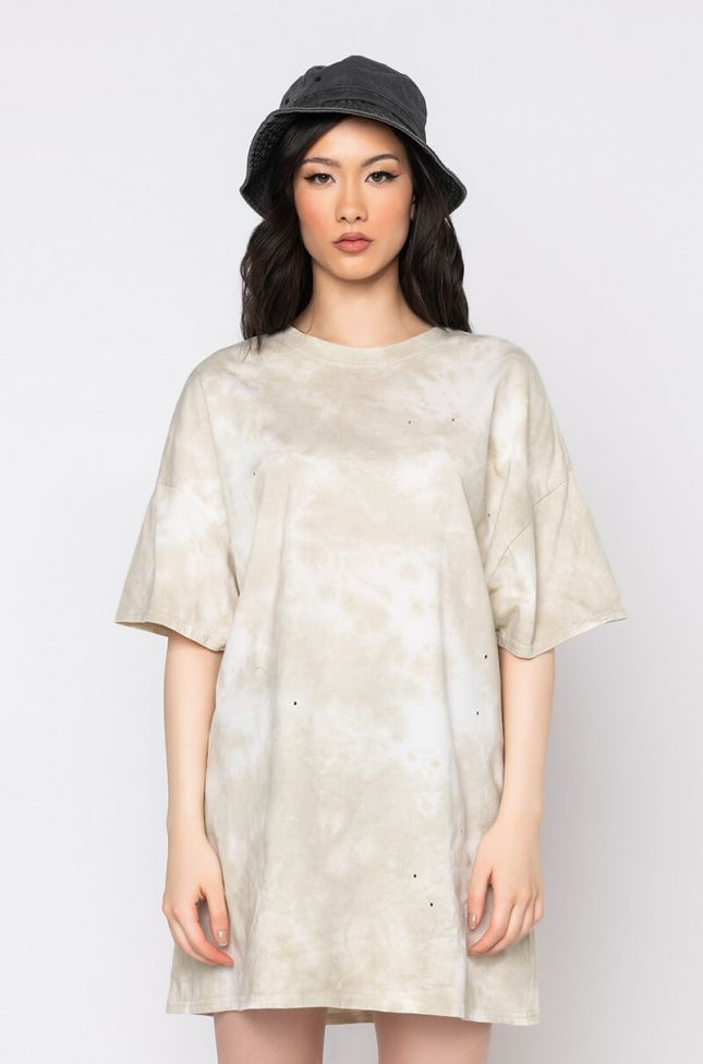 Back View My Energy Speaks For Itself Oversized T-shirt Dress in Grey