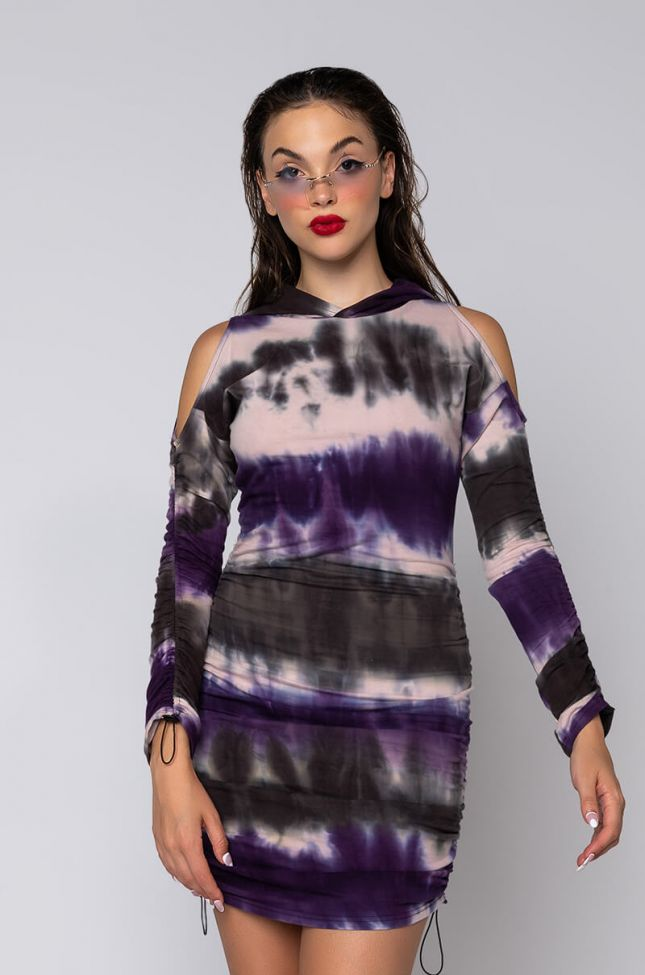 Front View My Good Side Cold Shoulder Mini Dress With Hood in Purple Multi