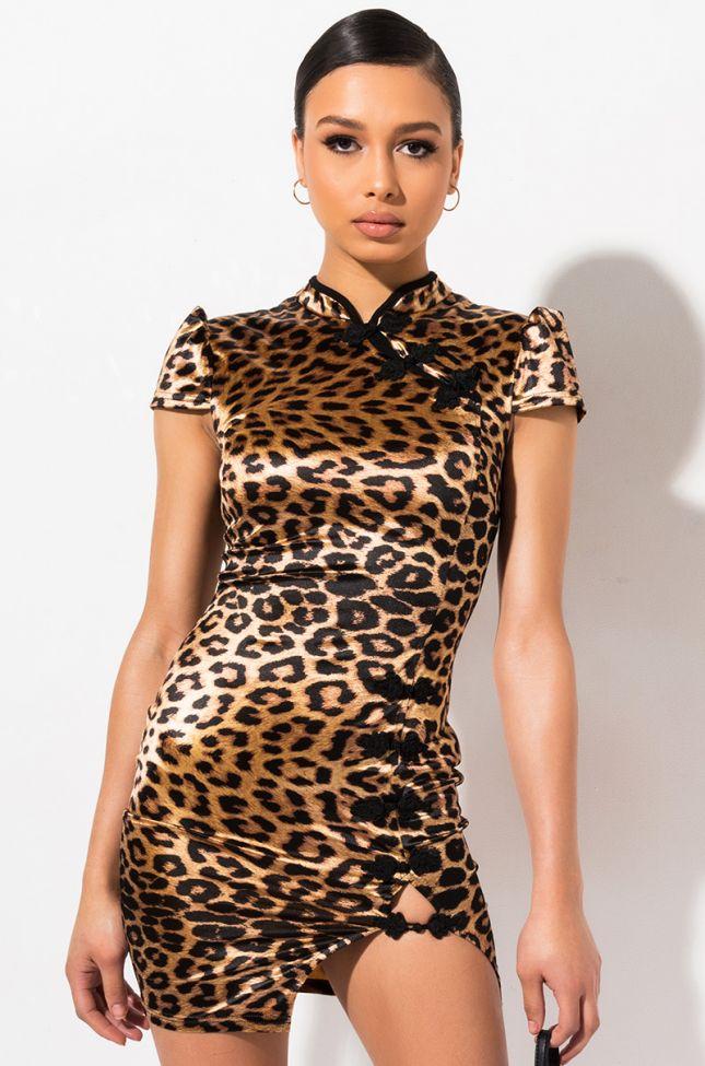 Front View My Hero Mini Dress in Brown Leopard
