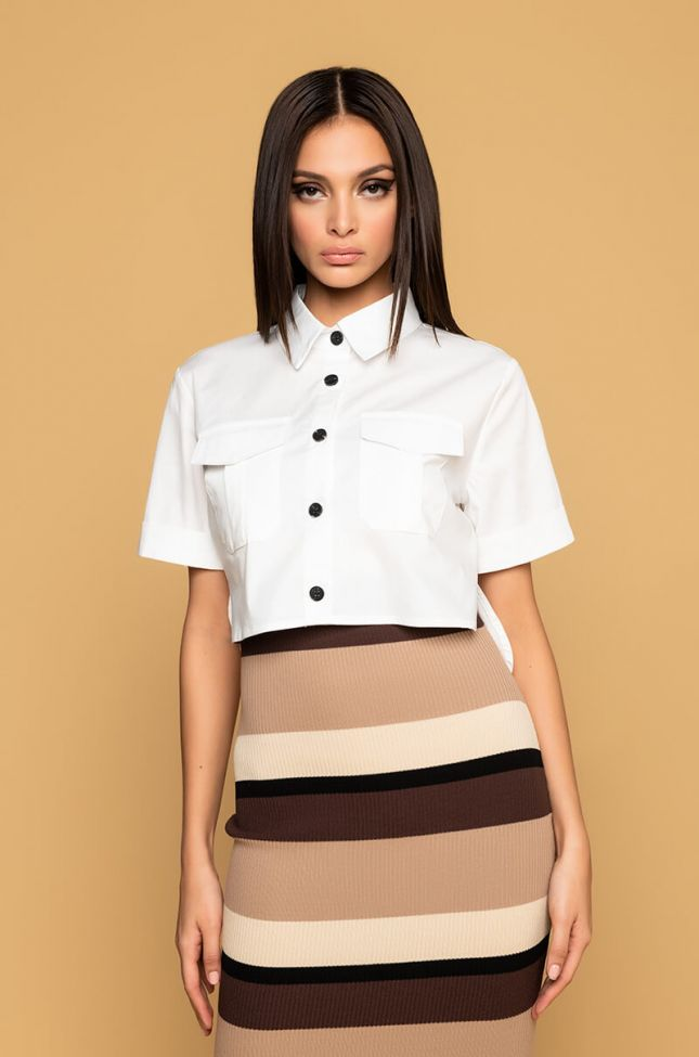 Front View My Level Stretch Poplin Button Down Top in White