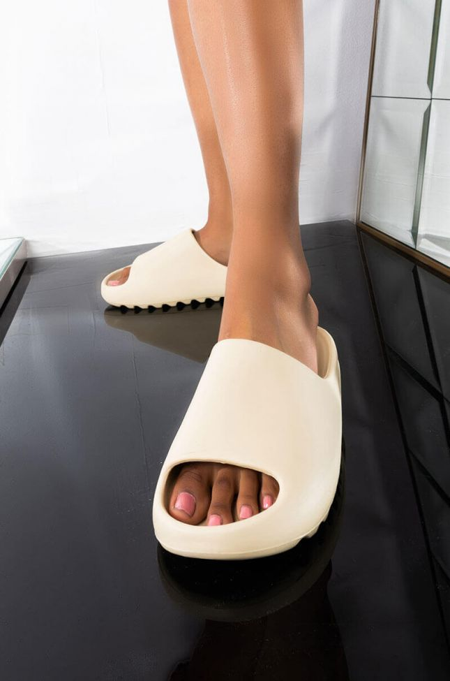 Front View My Type Flat Sandal in White