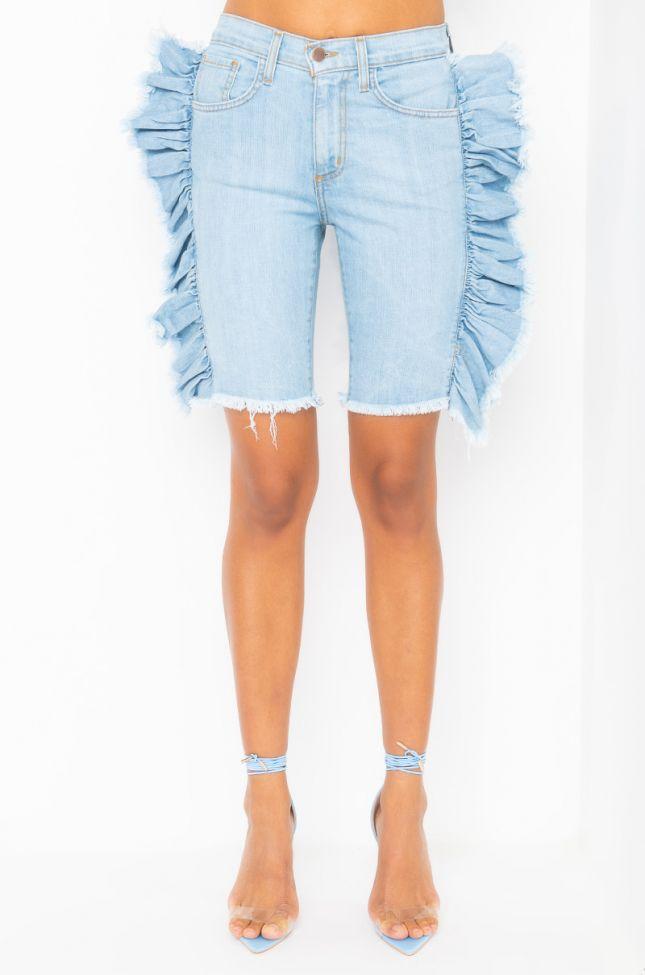 Front View Mya Ruffle Denim Bermuda Shorts in Light Blue Denim