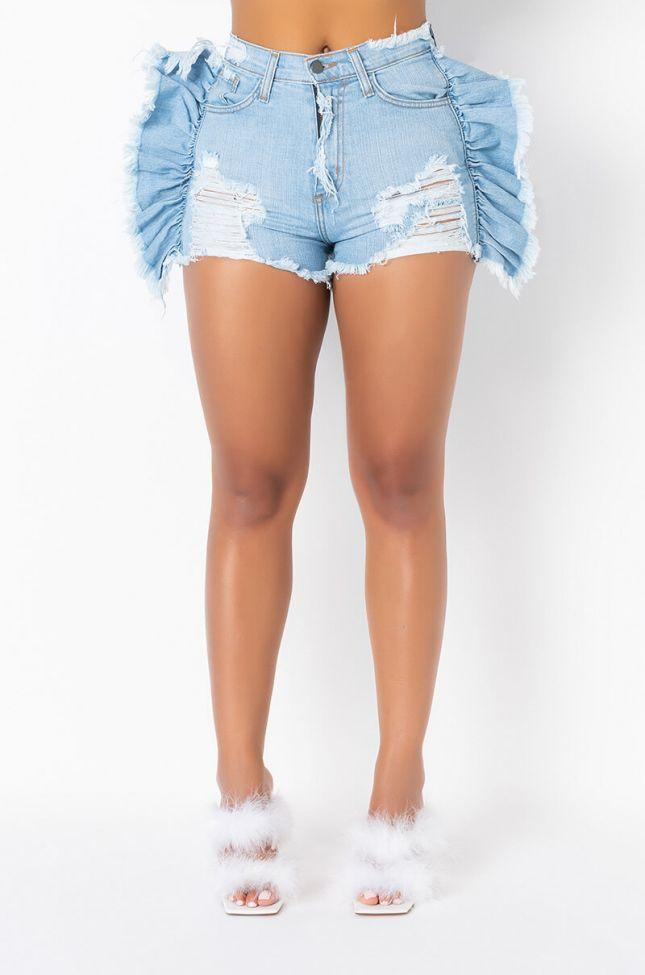Front View Mya Ruffle Denim Shorts in Light Blue Denim