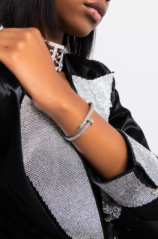 Front View Nailed It Rhinestone Bracelet in Silver