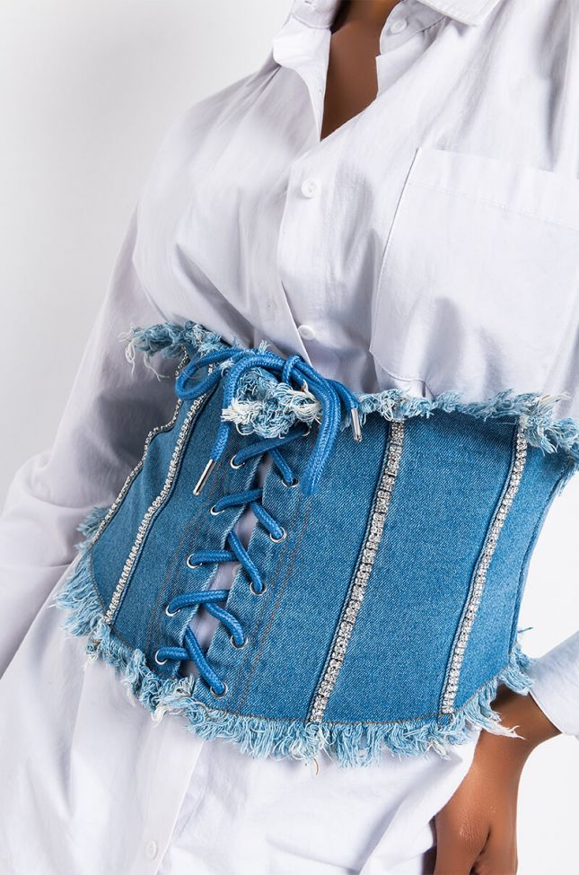 Detail View Name Of The Game Corset in Medium Blue Denim