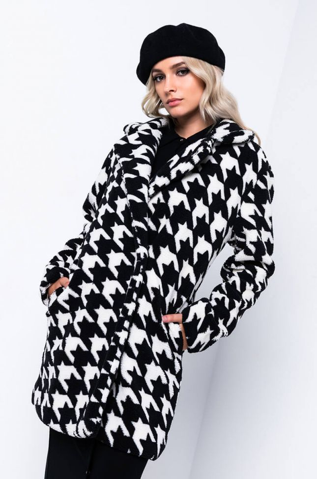 NAOMI HOUNDSTOOTH TEDDY TRENCH