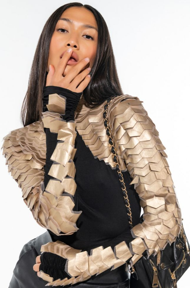 Front View Nastasia Scale Long Sleeve Top In Gold